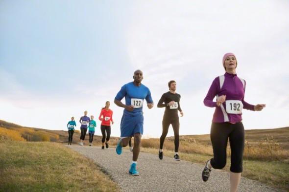 Runners racing on rural path