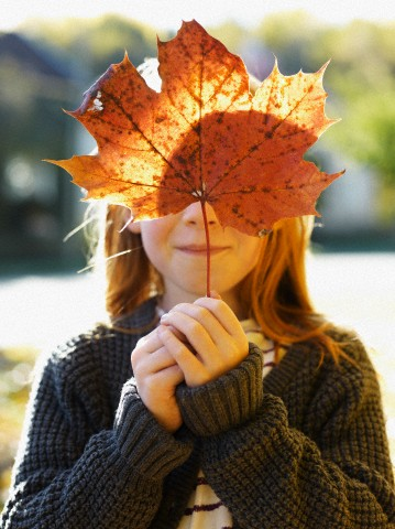 Girl with autumn leaf in front of face, Stockholm, Sweden